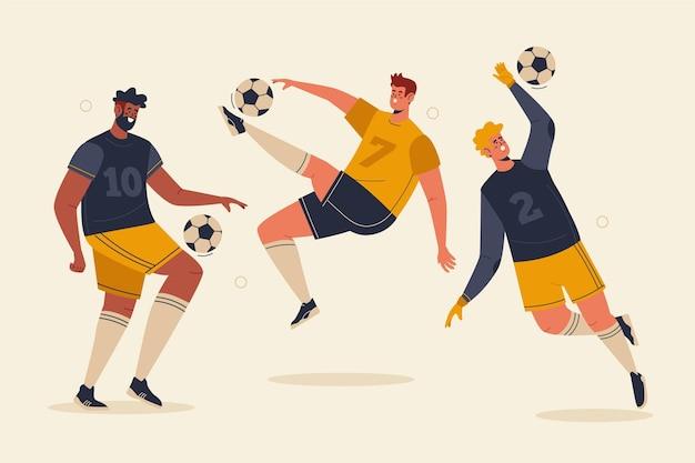 Jogadores de futebol plano ilustrados