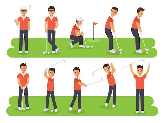 Jogadores de golfe, atletas de esporte de golfe em ações.