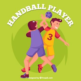 Jogadores de handebol na mão desenhada estilo