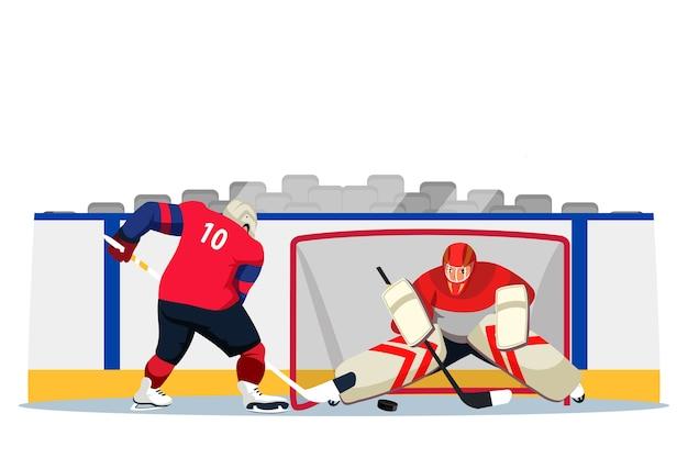 Jogadores de hóquei no gelo de uniforme e capacete na pista do estádio