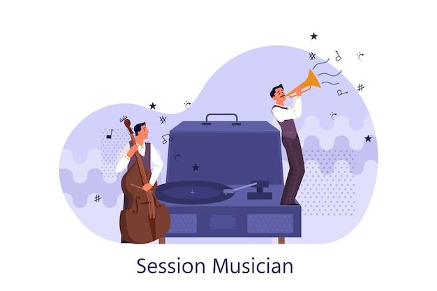 Jogadores de música realizando concerto com violoncelo e trompete. músicos e reprodutor de vinil. sessão de músico tocando melodia.