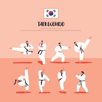 Jogadores de taekwondo em uniformes de taekwondo