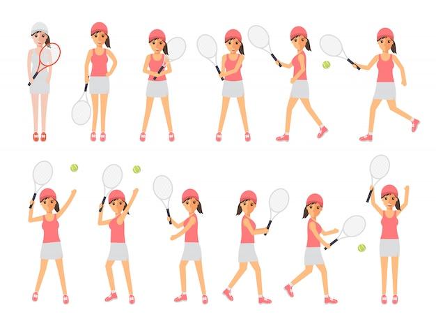 Jogadores de tênis, atletas de tênis esportivos em ações.