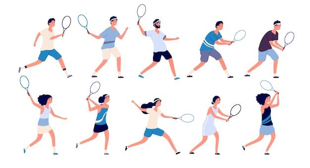Jogadores de tênis. homem e mulher segurando a raquete e batendo bola jogando tênis. conjunto de personagens de desenhos animados