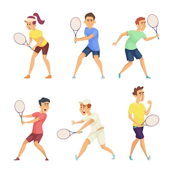 Jogadores de tênis isolar em fundo branco