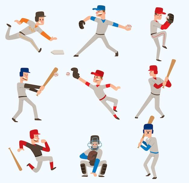 Jogadores de time de beisebol esporte homem de uniforme poses de jogo poses de beisebol situação liga profissional