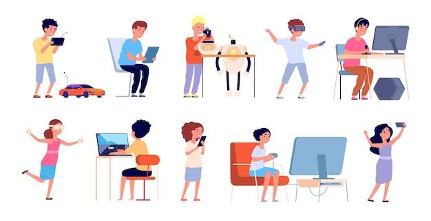 Jogadores jovens. crianças de jogos felizes, óculos de vr, computador e videogames jogando. crianças de desenho animado, codificação, ilustração vetorial de hobby de robótica. dispositivo de ilustração de jogos, controle de menina e menino