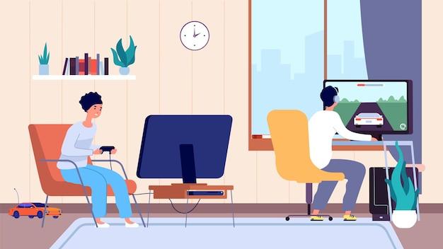Jogadores na sala. casal joga videogame, vício em entretenimento digital. ficar em casa, homem mulher passar tempo divertido ilustração vetorial. jogo feminino e masculino com joystick