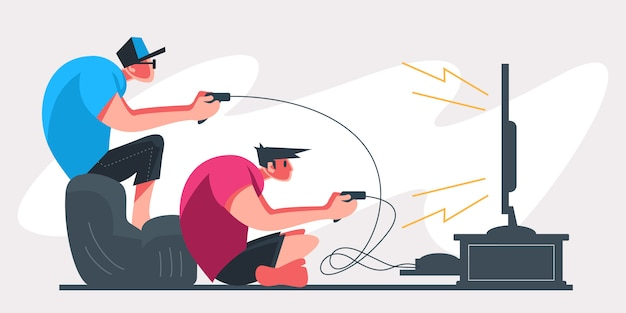 Jogadores profissionais de duas pessoas segurando o controlador pad jogando videogame na tela da tv. jogador de e-sports, conceito de jogadores profissionais. modelo de banner de cabeçalho ou rodapé. ilustração escalável e editável.