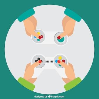 Jogadores que prendem os controladores do jogo