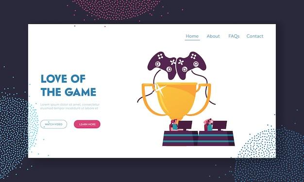 Jogadores sentados em computadores jogando jogos durante o modelo de página inicial do torneio do cybersport.