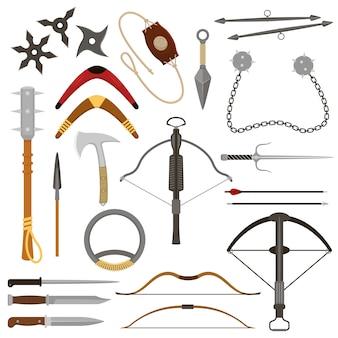 Jogando arma besta setas afiadas e faca ou machado conjunto de armamento de ilustração de ninja-kunai ou shuriken e arpão de lidar com equipamento de armadura isolado no fundo branco