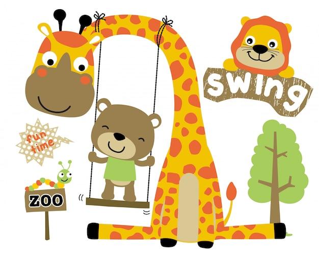 Jogando balanço com animais dos desenhos animados