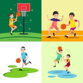 Jogando basquete ilustração