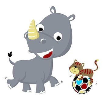 Jogando bola com animais fofos, ilustração vetorial de desenho animado