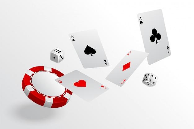 Jogando cartas chips e dados voando fundo de cassino