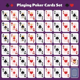 Jogando cartas de poker conjunto completo design mínimo bonito para jogo de cassino.