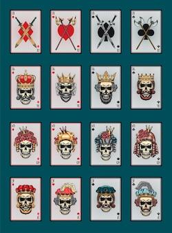 Jogando cartas de pôquer com o conjunto de caveiras
