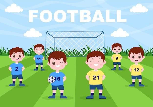 Jogando futebol com meninos jogar futebol vestir uniforme esportivo vários movimentos, como chutar, segurar, defender, aparar e atacar em campo. ilustração vetorial
