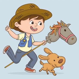 Jogando garoto cowboy
