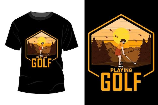 Jogando golfe maquete de t-shirt design vintage retro