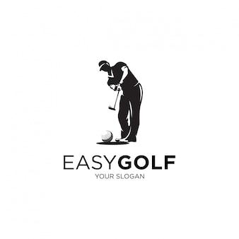 Jogando ilustrações de logotipo de silhueta de golfe