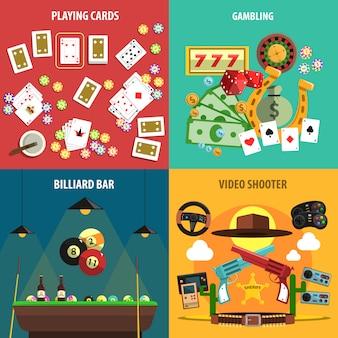 Jogando jogos banners set