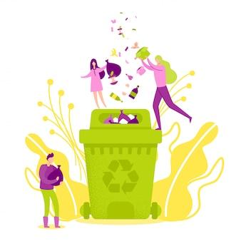 Jogando lixo na lixeira verde