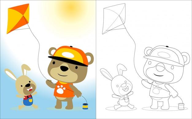 Jogando pipa com desenhos animados de animais fofos