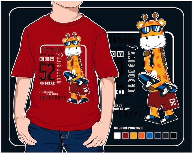Jogando skate vector animal cartoon ilustração design gráfico para impressão