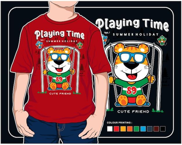 Jogando swing time vector animal cartoon ilustração design gráfico para impressão