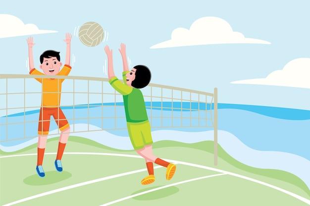 Jogando vôlei de praia ilustração colorida plana
