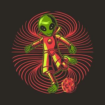 Jogar bola com a posição vai chutar a bola ilustração alienígena