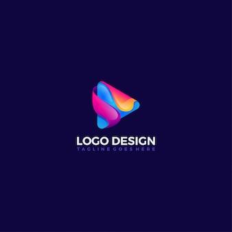 Jogar botão modelo de design de ícone de cor gradiente