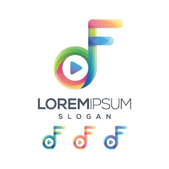Jogar coleção de gradiente de logotipo f