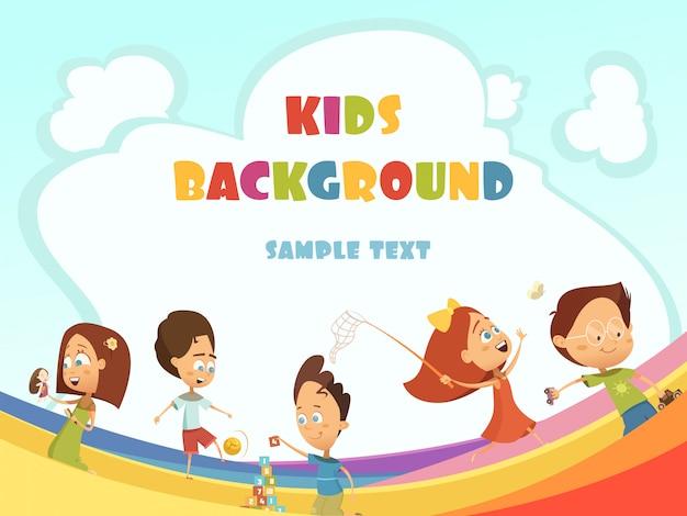 Jogar, crianças, caricatura, fundo