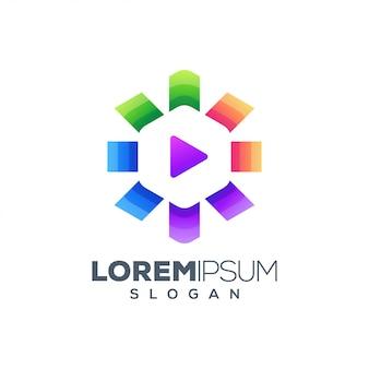 Jogar design de logotipo colorido