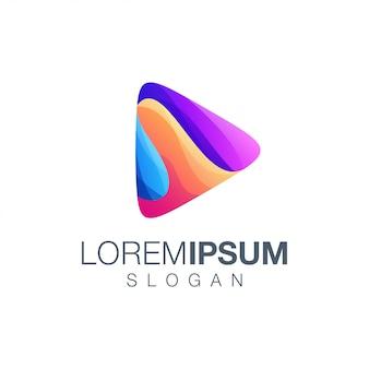 Jogar design de logotipo de coleção gradiente