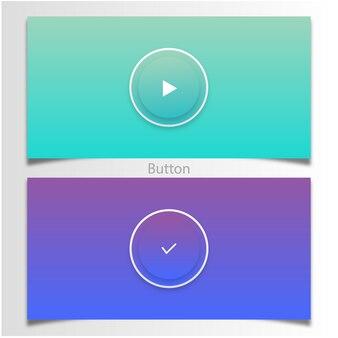 Jogar e botão de sucesso com gradiente de cor