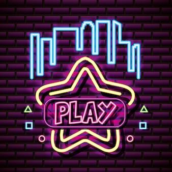 Jogar estrela com edifícios, parede de tijolos, estilo neon