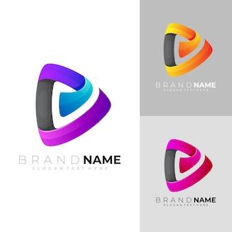 Jogar logotipo com design colorido. logotipos de áudio