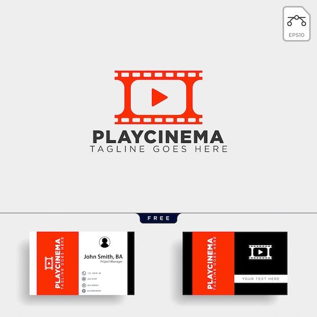 Jogar modelo de logotipo simples de mídia cinema