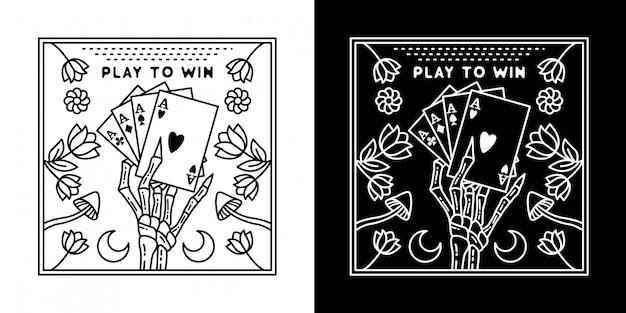 Jogar para ganhar cartão monoline design
