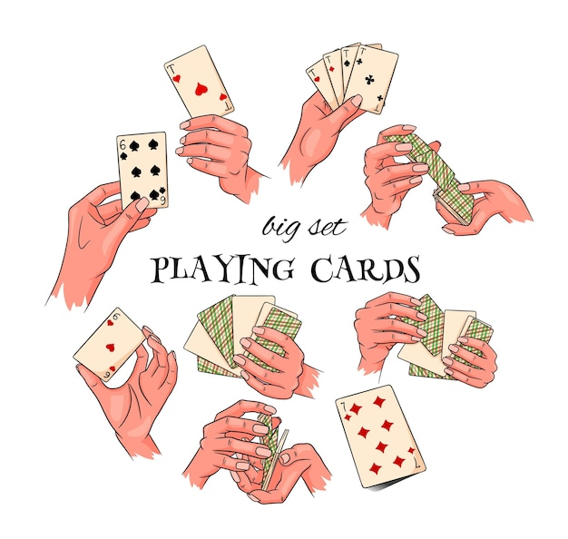 Jogatina. jogando cartas na mão. casino, fortuna, sorte. grande conjunto. estilo de desenho animado. ilustração vetorial para design e decoração.