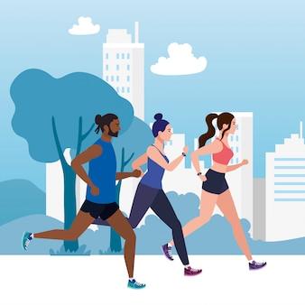 Jogging com vista da cidade, pessoas correndo corrida ao ar livre, pessoas no sportswear jogging
