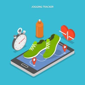 Jogging e corrida plana isométrica.