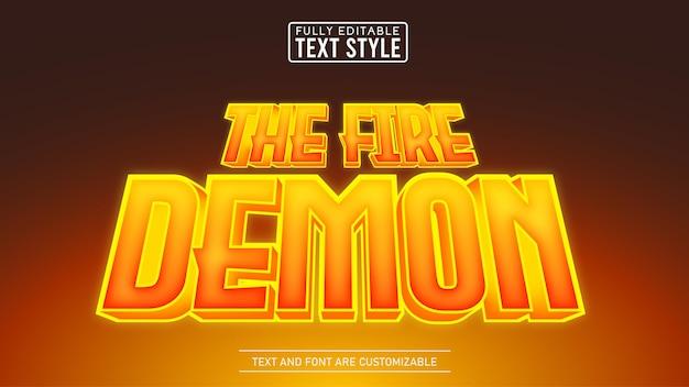 Jogo 3d flame glow e efeito de texto editável do título do filme