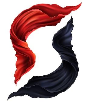 Jogo 3d realístico de voar a tela de seda vermelha e preta. dois, pedaços, de, fluir, cetim, pano, isolado