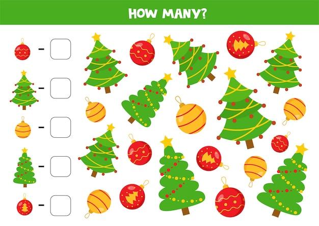 Jogo a contar com árvores e bolas de natal. jogo de matemática para crianças.