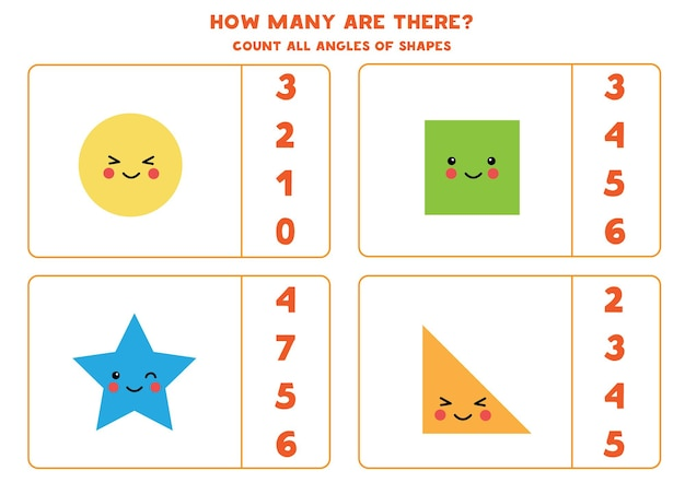 Jogo a contar com fofas formas geométricas kawaii. conte o número de ângulos.